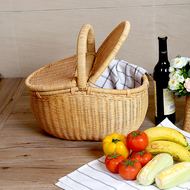 Rattan Handmade Hand Basket Fruit Basket Laden With Cover Picnic Basket  Storage Basket Rural Outdoor 46x32x41cm