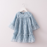 Hurave Baby Girls Embroidered Dress Clothes Children Sleeveless Dress Kids O Neck Solid Lace Dresses For