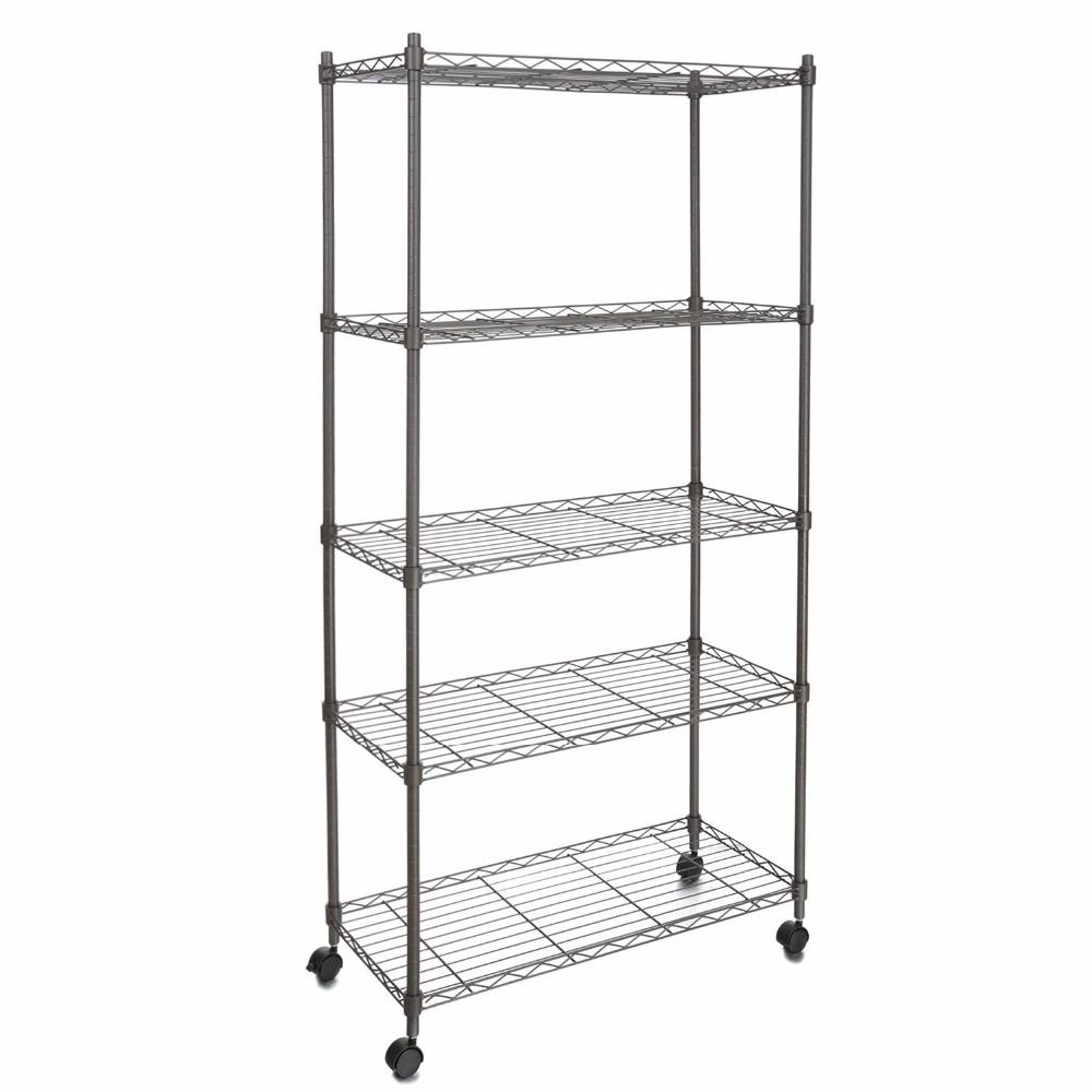 Homdox Classic Metal 5 Shelf Wire Shelving Rack Shelves