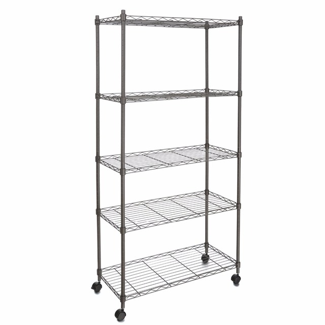 Homdox Clic Metal 5 Shelf Wire Shelving Rack Shelves With Wheels For Living Room Bathroom 14 X 29 61inch 45 20