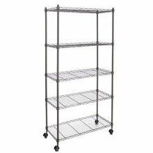 Homdox Classic Metal 5-Shelf Wire Shelving Rack Shelves with Wheels For Living Room/Bathroom 14 x 29 x 61inch #45-20
