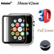 3D Tempered Glass For Apple Watch 38mm 42mm Series 2 1 Full Cover Curved Black Edge Screen Protector Film For iWatch 38mm 9H HD