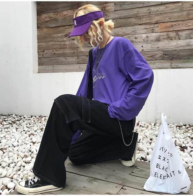 Women Homme Hiphop Streetwear Fashion Vintage Straight Wide Leg Denim Track Pant Plus Size Loose Jean Trouser Drawstring Waist 4