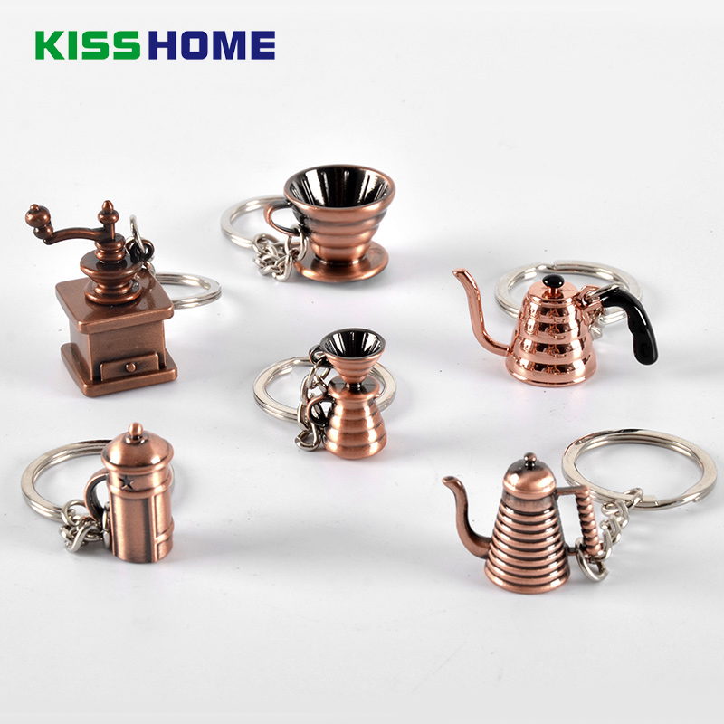 Retro Bronze Coffee Keychain Portable Metal Antique Copper Keyring Coffeeware Tools Barista Espresso Coffee Accessories