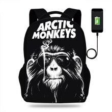 ARCTIC MONKEYS Rock and Roll Design Rucksack Daypack School Bag Student Mens Backpack Casual Laptop Travel USB Port