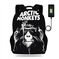 ARCTIC MONKEYS Rock and Roll Design Rucksack Daypack School Bag Student Mens Backpack Casual Laptop Bag Travel Backpack USB Port