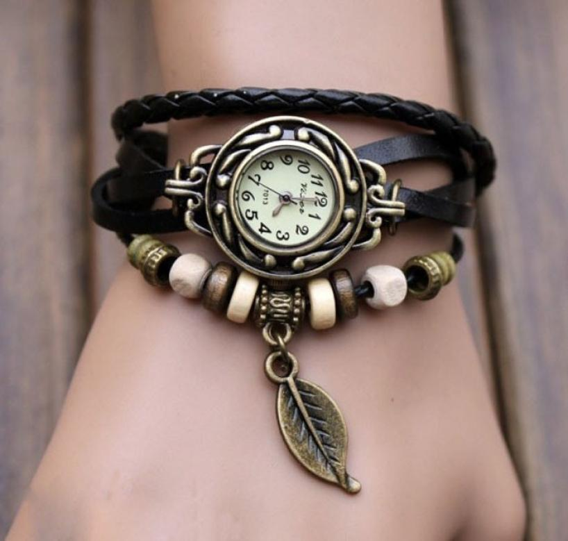 Intellektuell Weave Wrap Quarz Leder Blatt Perlen Handgelenk Uhren Uhr 2018 Mode Vintage Frauen Armband Armbanduhr Uhren Mujer Uhren
