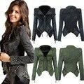 Mulheres estilo Punk moda rivet demin jaqueta peplum fino turn-down collar plus size femme curto jean jacket revestimento do outono
