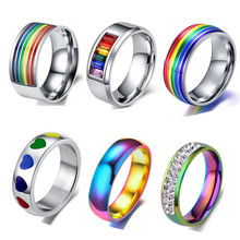 Stainless Steel Colorful Rainbow Couple Ring Wedding Band Lebian & Gay Rings Women Men Jewelry Wholesale