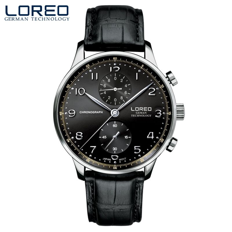 Hot sell fashion mens watches LOREO brand silver needle new leather watch waterproof chronograph scratch resistant