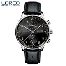 Manera de la venta caliente mens relojes LOREO marca de aguja de plata de cuero nuevo reloj cronógrafo impermeable reloj de cuarzo resistente a los arañazos