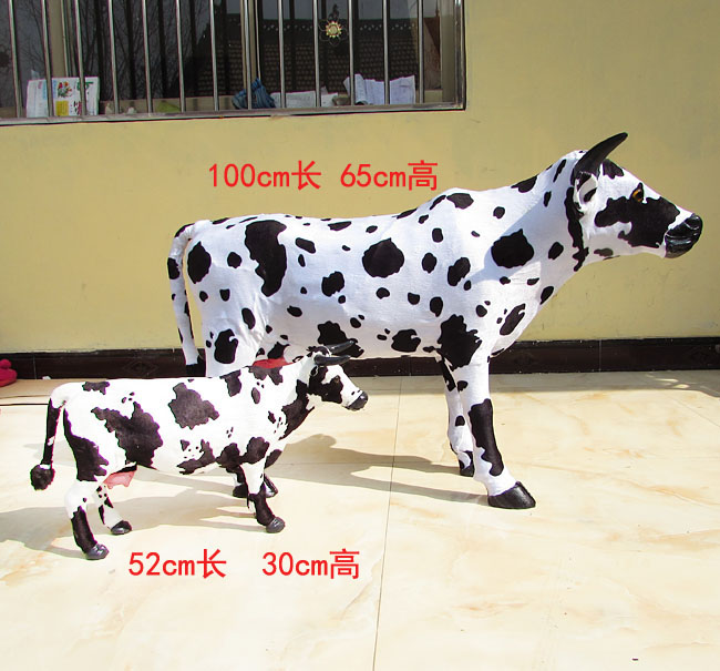 simulation cow model large 100x65cm cow and 52x30cm milk cow plastic&fur dairy cow handicraft,home decoration toy gift w5868