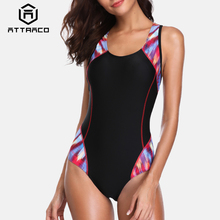 Attraco One Piece Women Sports Swimwear Swimsuit Patchwork Competition Backless Beachwear Bathing Suits