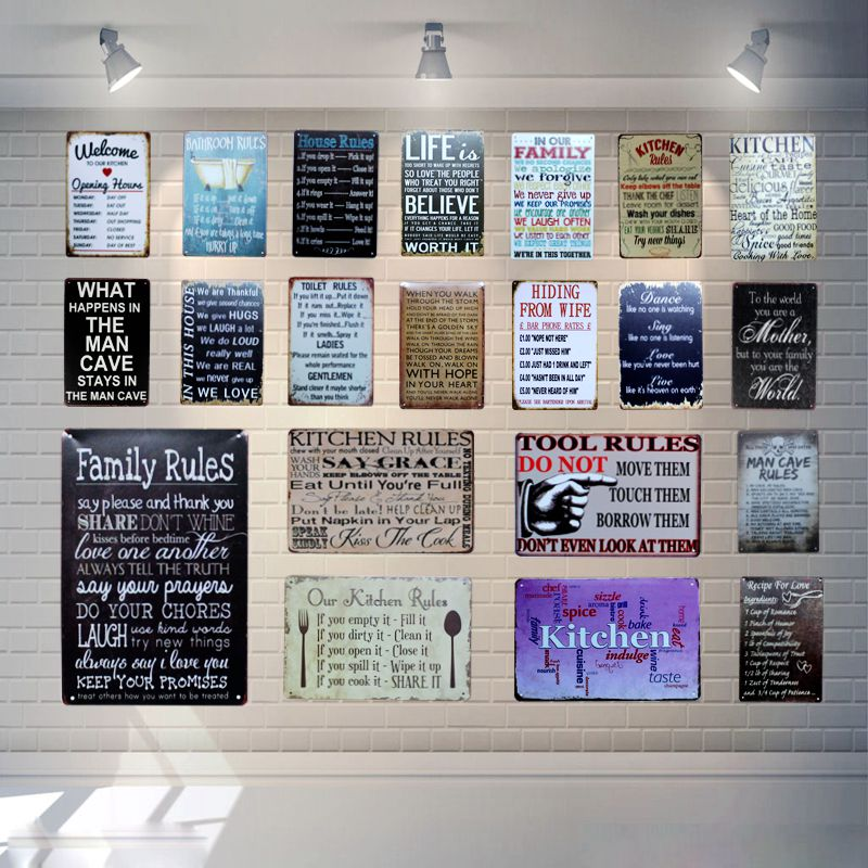 Keep Calm Shabby Chic Tin Signs Vintage Kitchen Rules Metal Plates For Wall Bar Home Man Cave Decoration 30X20CM A 4685 in Plaques Signs from Home Garden