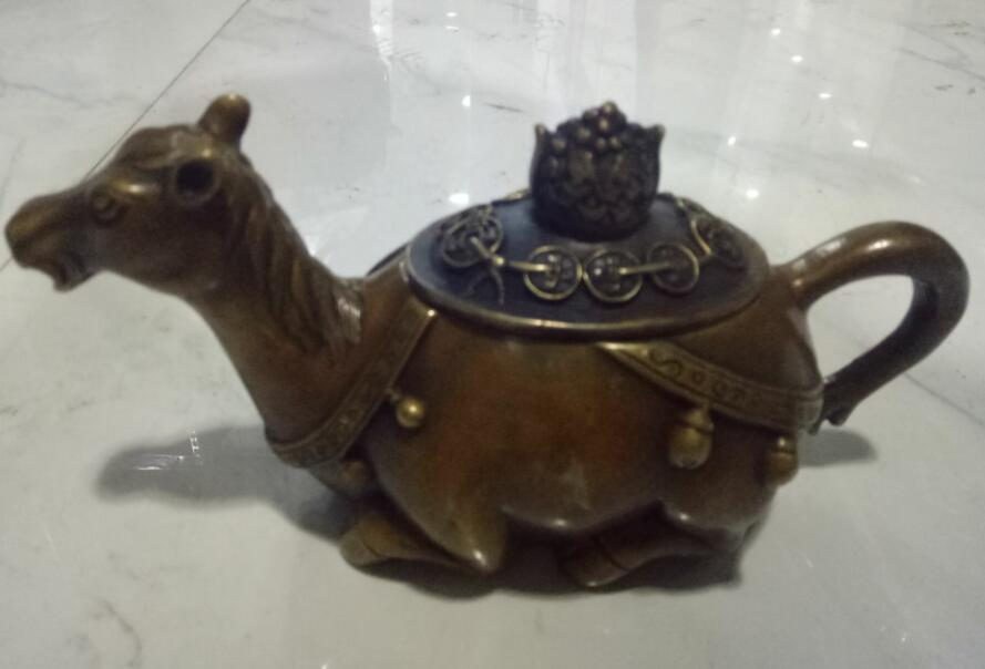 Collect pure brass sculpture camel, fish, monkey teapot,8 kinds of animal bronze pot jewelry free shipping