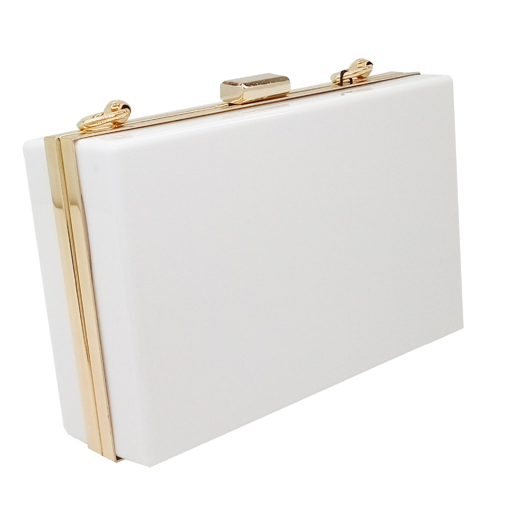 European Brand Women Simple White Acrylic Clutch Bag Ladies Hardcase Clutches Evening Mini Transparent Party Dinner Handbag