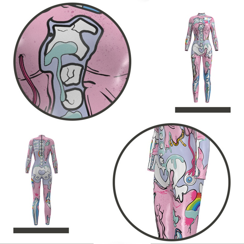 <font><b>2018</b></font> Fashion Trend <font><b>Halloween</b></font> Skeleton Print Pink Bodysuit cartoon Costume Full Sleeve Lange <font><b>Sexy</b></font> Strech Cosplay Jumpsuit image