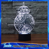 3D Vision Star Wars Stag LED Acrylic Plate 7 Colors Gradients Resistance BB 8 Desk Lamp