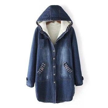 Winter denim women cotton jacket loose thick medium long coat autumn hooded large size S-3XL denim female cotton parkas DT0197