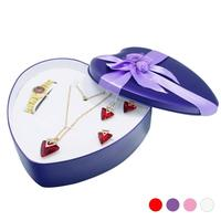 Woman Lovely Creative Gift Bracelet Watch Pendant Necklace Heart Earring Ring Set Jewelry Case Three Piece