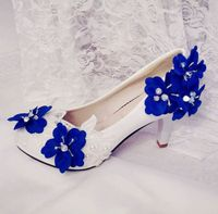 Platforms hakken pumps schoenen vrouw blauwe bloemen wit plus size 41 42 trouwschoenen womens party diner bruiden schoenen in voorraad