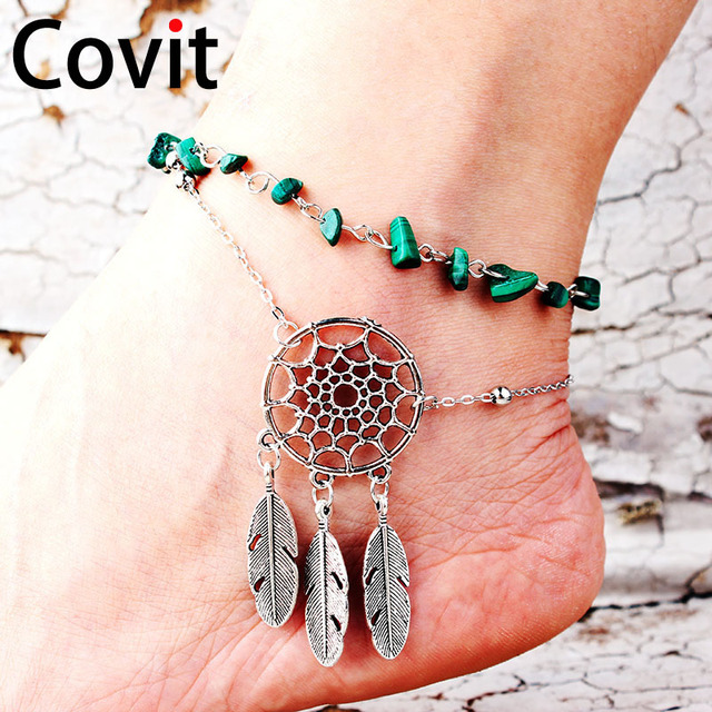 4a9460c8d89 Covit feet fashion ankle bracelet irregular natural peacock stone hollow  dream catcher feather feet anklet for women gift