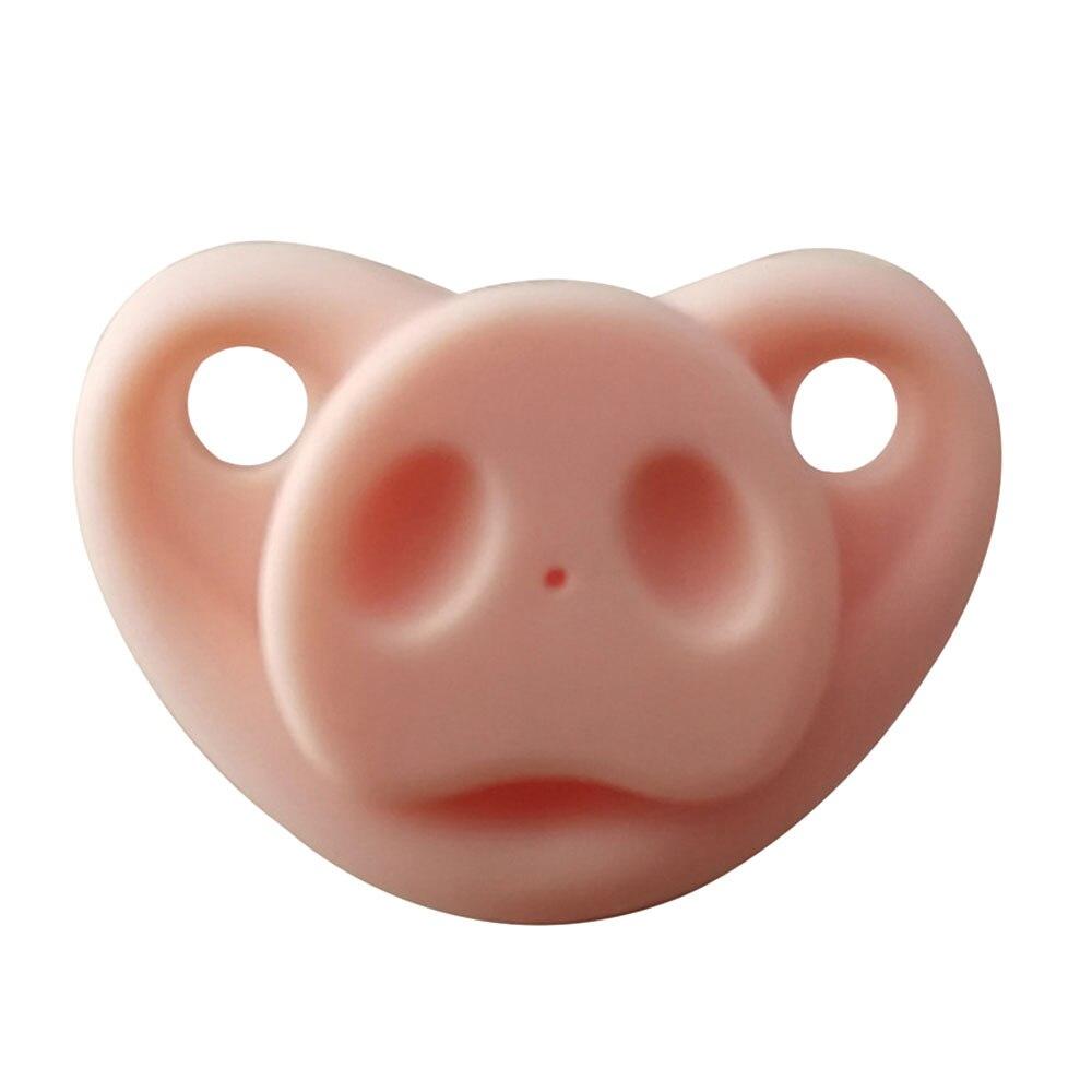 Младенческая Соска-пустышка креативный Мягкий Силиконовый грызунок Свинья Нос подарки шутка малыш - Цвет: pink