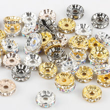 50pcs/lot 4 6 8 10mm Rose Gold Silver Color Rhinestone Rondelle Crystal Bead Handmade Jewelry Findings Loose Spacer Charm Beads(China)