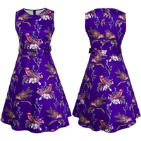 Women Vintage Dress Floral Bird Print Patchwork Sleeveless Sashes O Neck Summer Dress Rockabilly Swing Party