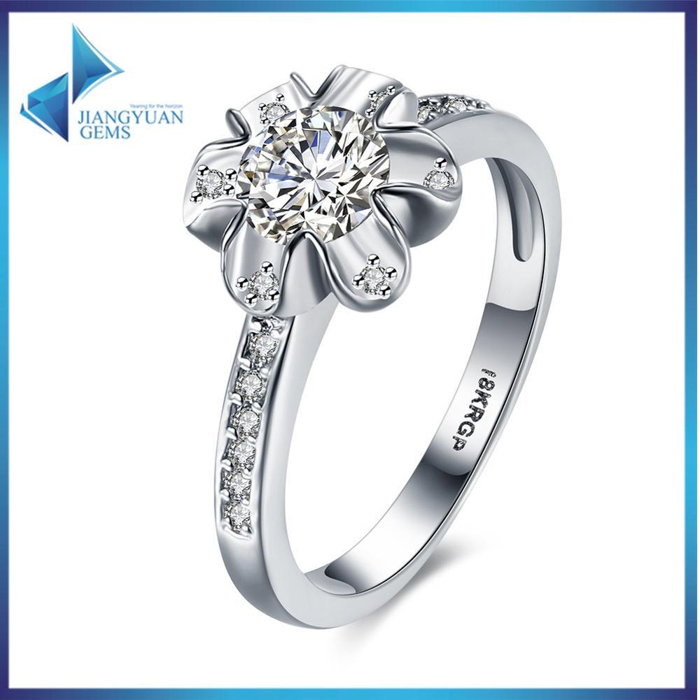 2016 New Fashion Luxury Women Engagement Flower Platinum Plated 5a Zc  Crystal Zircon Female Wedding Finger Rings Size 6,7,8,9