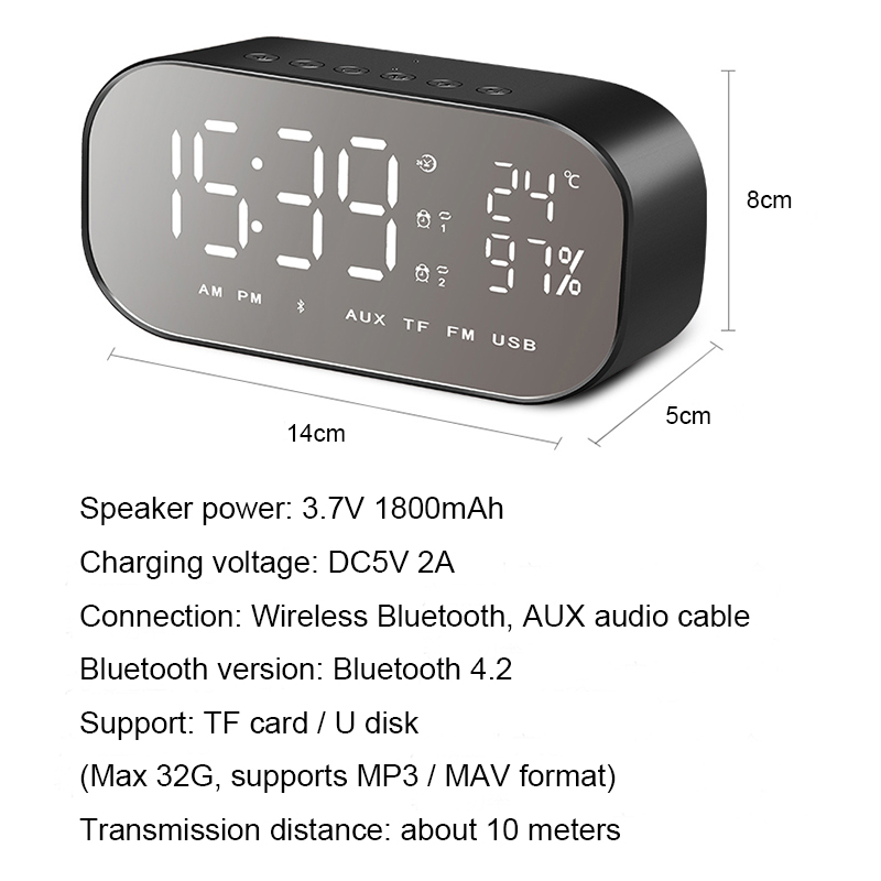 Digital Table Temperature Alarm Clock Multifunction Intelligent Wireless Bluetooth Clock With Speakers Home Mini Led Display