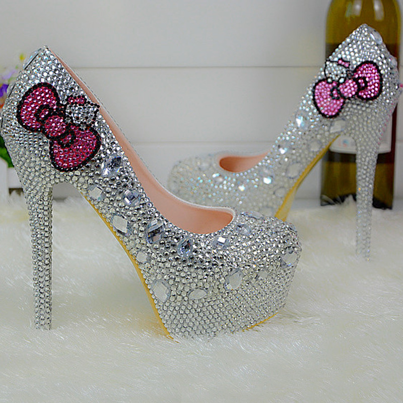 Popular Silver Rhinestone Bridal Wedding Shoes Hello Kitty Graudation Party  Prom High Heel Shoes Formal Dress Pumps Plus Size 45-in Women s Pumps from  Shoes ... 796dfeb17c05