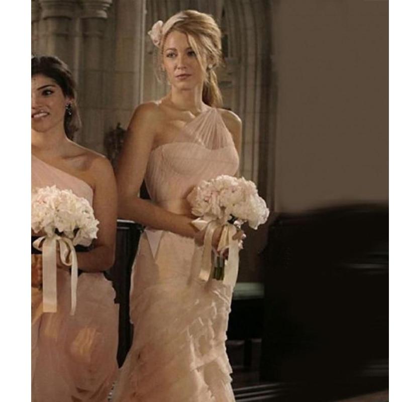 Image 2 - Gossip Girl Serena 2020 Sexy Blush Pink Mermaid Wedding Dresses One Shoulder Sweep Train Ruffles Bridal Gowns Custom Madebridal gownmermaid wedding dresseswedding dress one shoulder -