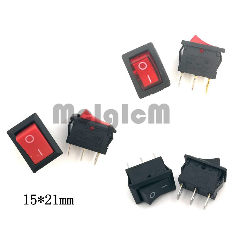 Rocker Switch 6A 250V AC / 10A 125V AC SPDT Snap in 3 pin ON-OFF I/O 15*21mm with Red Led Light, Black and Red Switches 5pc lot free shipping flat handle rocker switch 3 pin on on spdt cqc ul rohs silver point toggle switch ac 6a 125v 3a 250v