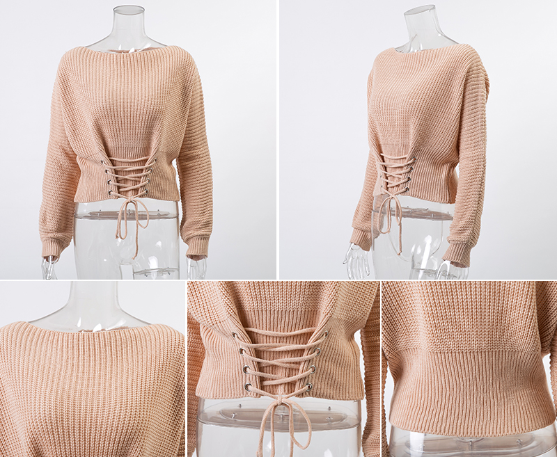 NLW Lace Up Crop Casual Women Sweater 19 Autumn Winter Knitted Pullovers Long Sleeve O Neck Loose Jumper Top Bandage Sweater 17
