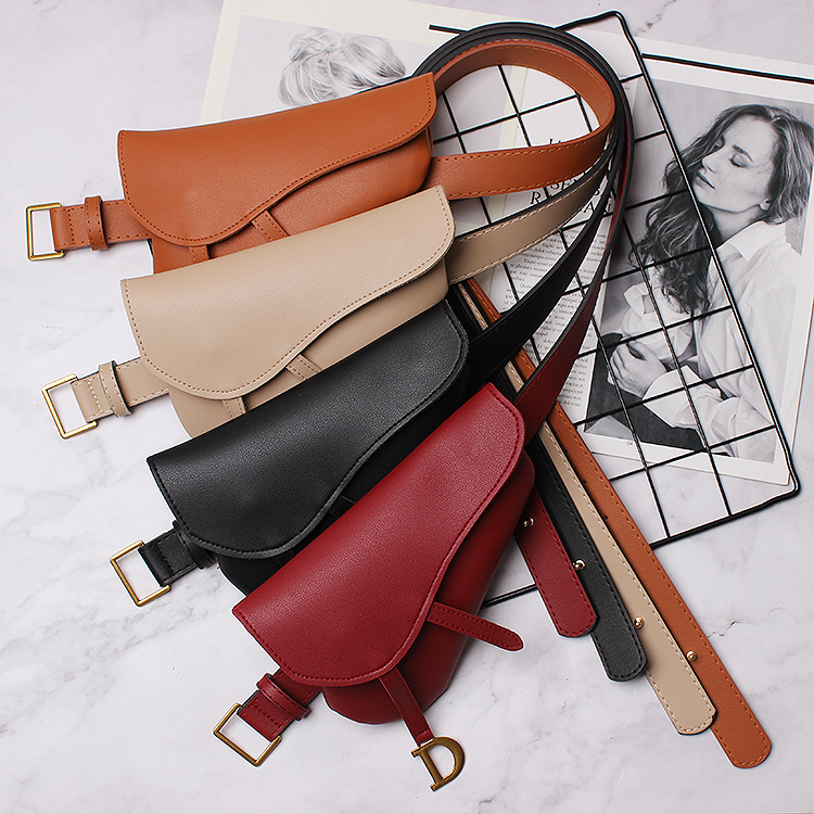 Women fashion asymmetric small phone pocket belt solid color elegant brand belts new 2019 spring summer runway