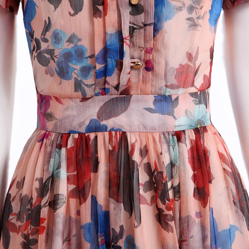 Fleurs Poitrine Courtes De Robe Mince Mousseline Unique Vintage Dames 2017 Imprimé 3xl Soie 6065 D'été Df Manches S Soirée qw8ZxX7R