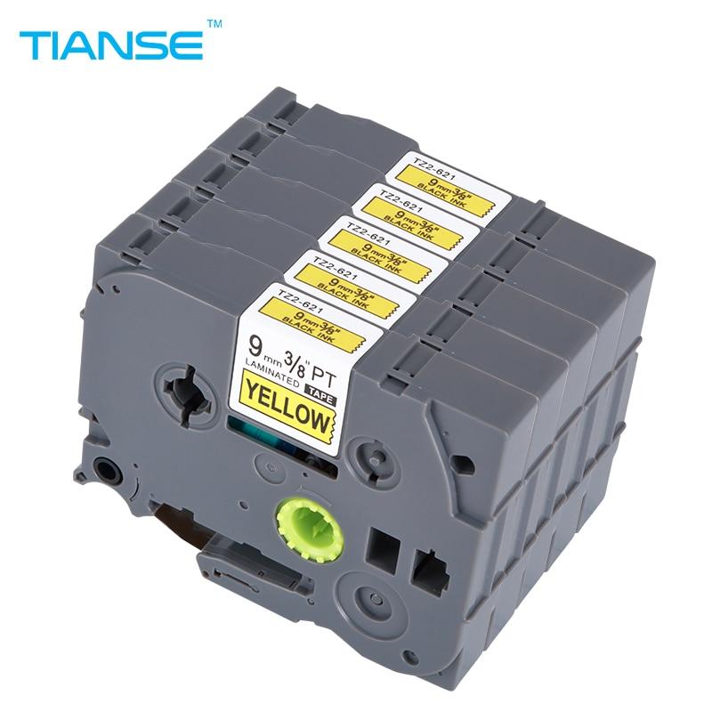 TIANSE 5pcs or Brother Tze 621 9mm Tze621 Tze-621 Tz621 Tz-621 Tz 621 P-touch Label Maker Printer Tze Tape 9 mm Label Ribbons