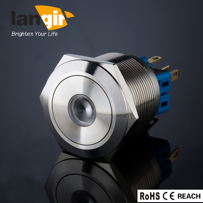LANGIR Latching Metal Push Button Switch LED Dot illuminated Stainless steel with Pin Terminal Suitable for 25 mm Mounting Hole