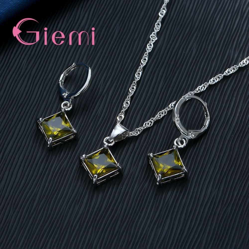 Big Promotion 925 Sterling Silver  Necklace Earrings Jewelry Sets for Women Female Classic Square Clear Zircon Bijoux Hot