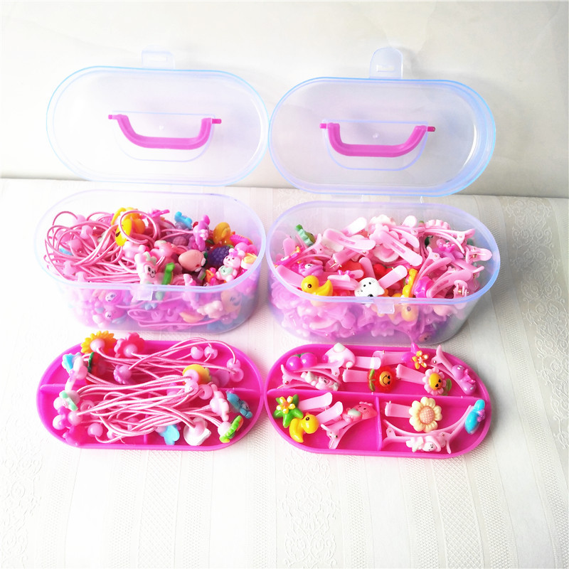 24Pcs Children Hair Clip Headband Flower Pink Hair Elastic Band Bow Animal Pattern Ropes Ties Hair Accessories for Girl Gift Box 8 pieces children hair clip headwear cartoon headband korea girl iron head band women child hairpin elastic accessories haar pin