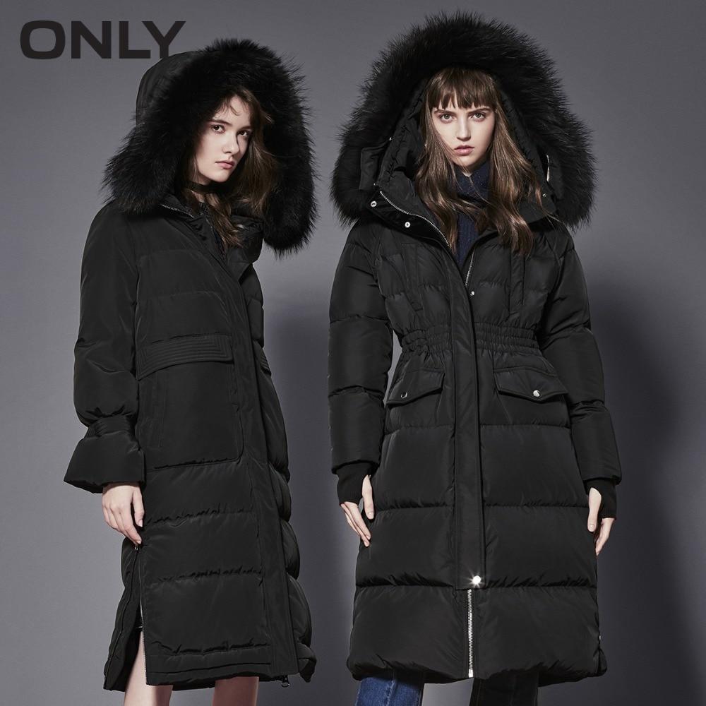 ONLY Women's Raccoon Fur Collar Big Pocket Down Jacket|118312543