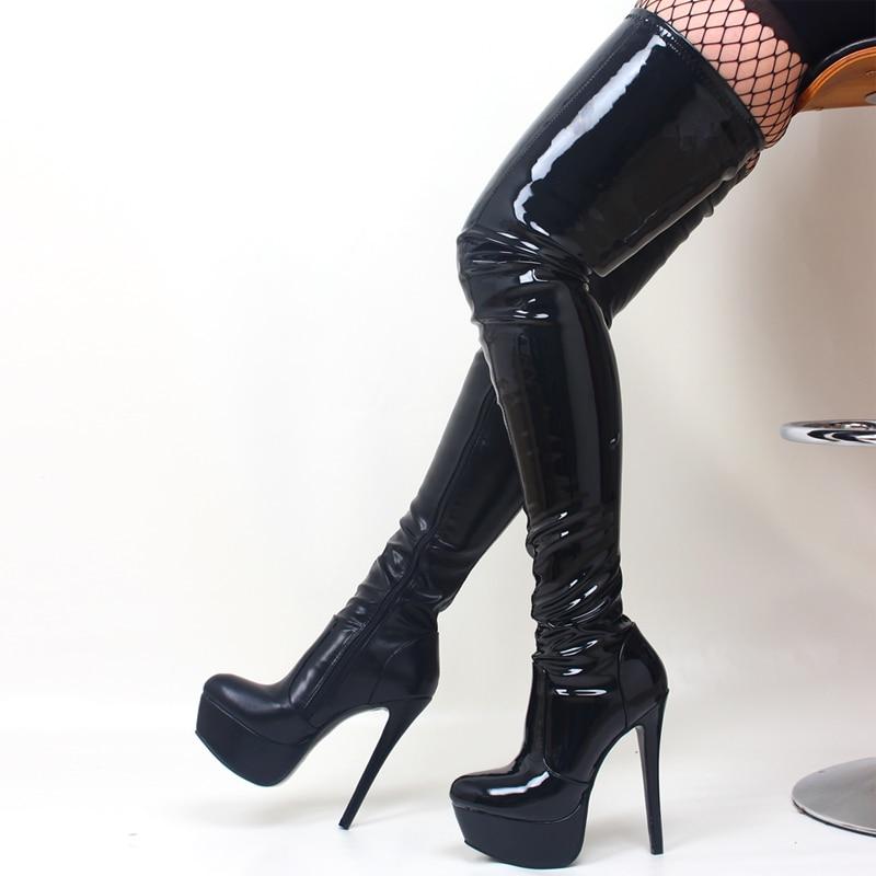 Chaussures Danse genou Femmes De Jialuowei Bottes Talon black Orteil Haut the Matt Pointu Glissière Plate Shiny Cuissardes Mince Over Black Haute Super forme Sexy pHTxqUH