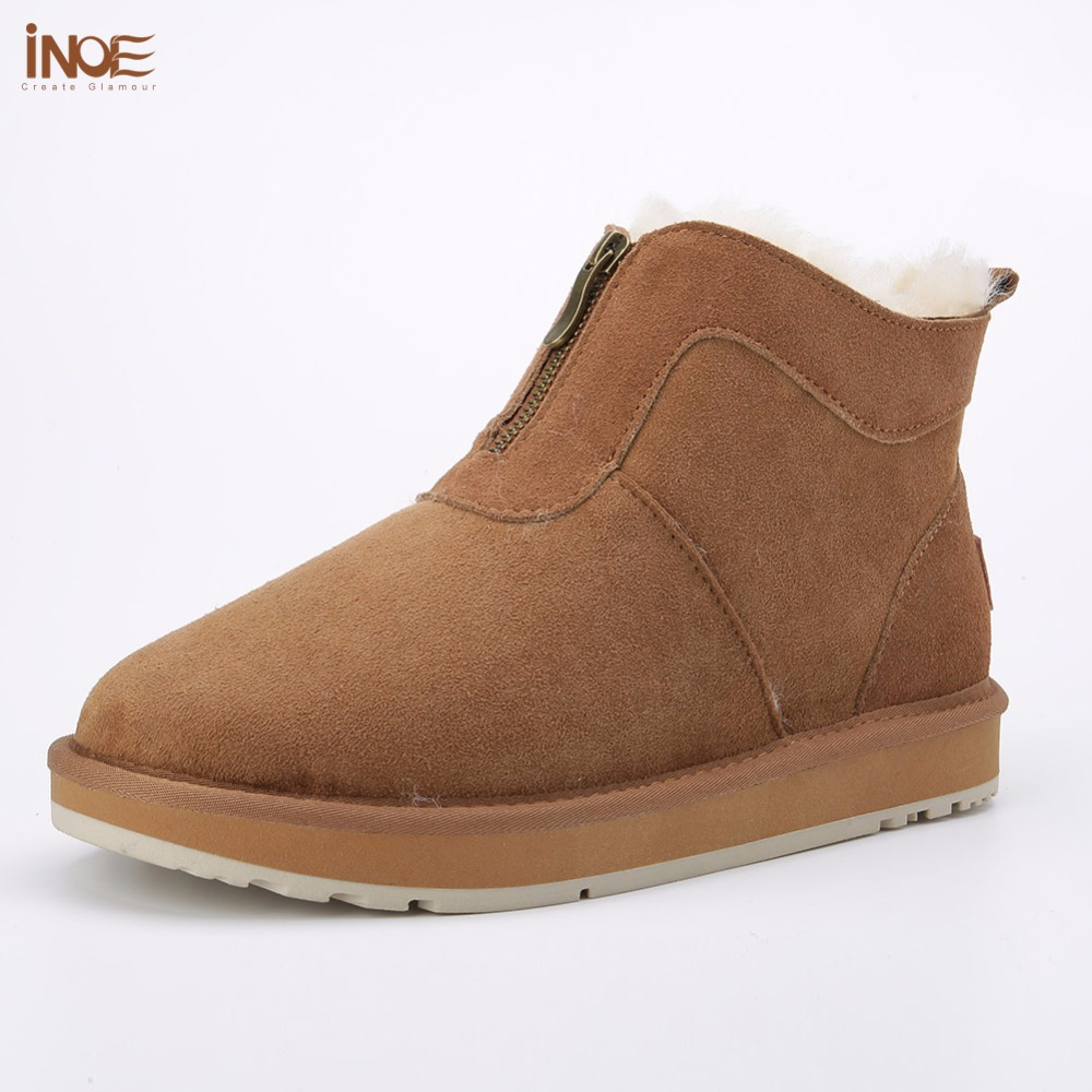 INOE new style genuine sheepskin leather natural fur lined men winter snow boots with zipper short ankle winter shoes for men
