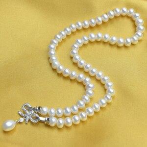 Image 2 - ZHBORUINI ensemble de bijoux en perles, deau douce naturelle, nœuds, en argent Sterling 925, collier en perles, boucles doreilles, Bracelet pour femmes, idée cadeau