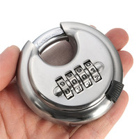 Security Padlock Silver Steel Alloy 4 Digit Combination Master Round Shape Disc Lock For Locking Doors