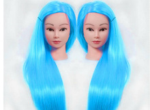 Female Mannequin Hairdressing Styling Training Head dolls head with sky blue hair Nice high quality