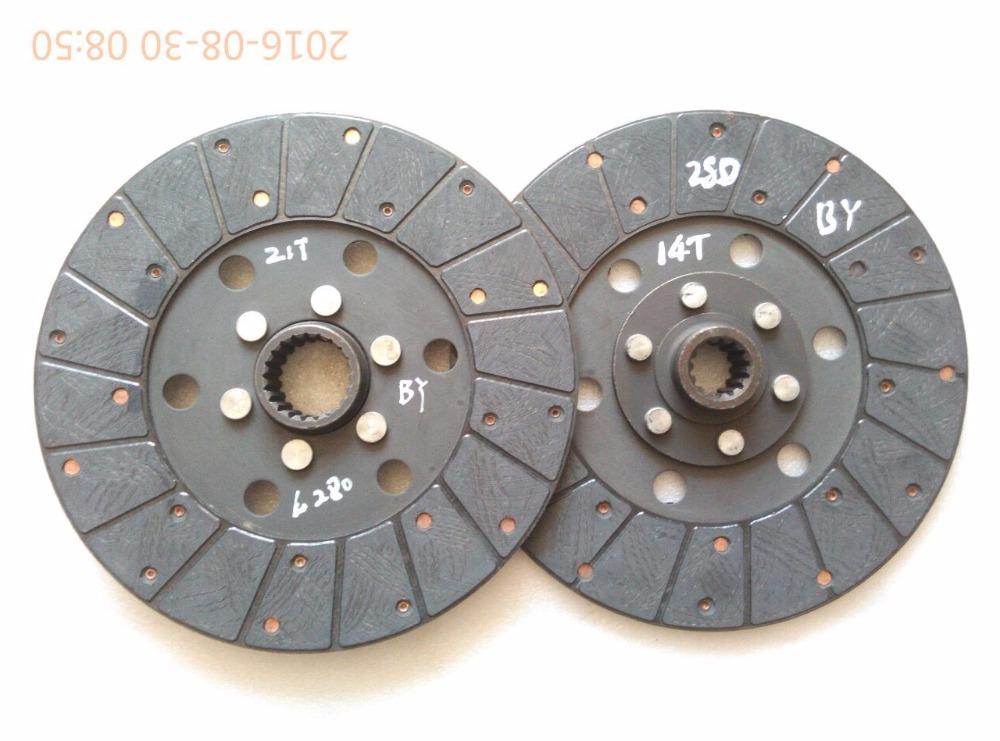 set of main and PTO clutch disc (diameter 280mm 14 teeth/21 teeth) for Benye tractor BY724 BY824, part number: