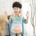 2017 niños clothing niños bebés blusa camisas de la escuela para los niños del cabrito de la marca de manga larga gira el collar abajo de algodón de moda outwear