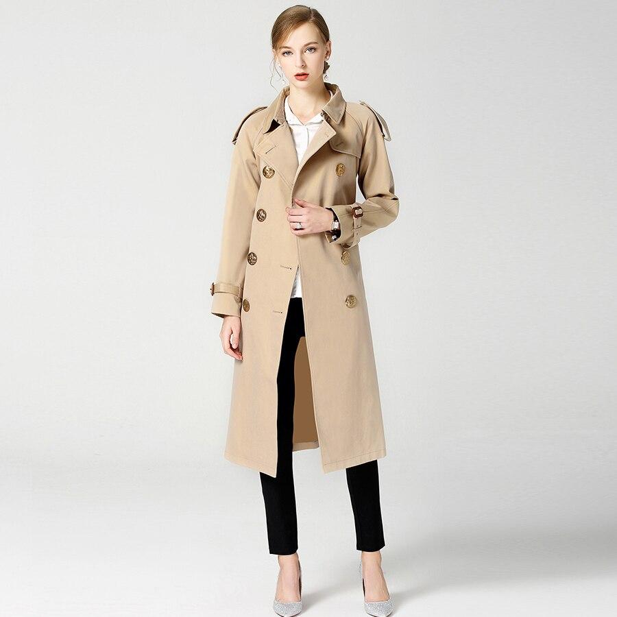 2018 Autumn Winter British New Design B Brand Trench Waterproof Elegant Vintage Classic Plaid Womens Long Trench Coat
